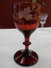antique glass cranberry glass goblet