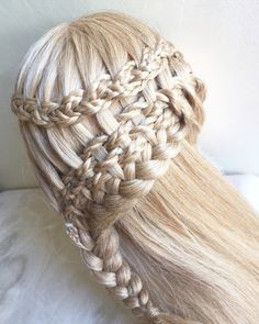 Braided waterfall into a lace braid with micro braids woven through