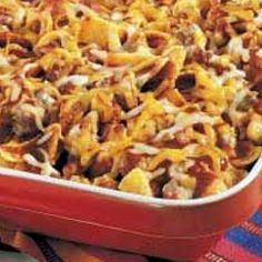 Mexican Casserole - Weight Watchers Recipe - I used ground turkey, Greek yogurt and weight watchers shredded cheese. Ground turkey, tortilla chips, and mixed part sour cream and part greek yogurt) Skinny Recipes, Ww Recipes, Low Calorie Recipes, Light Recipes, Mexican Food Recipes, Great Recipes, Cooking Recipes, Favorite Recipes, Healthy Recipes