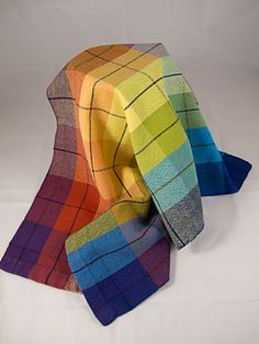 Ravelry: Fibrelady's Rainbow Tea Towels--Would love to try doing this in a weave....Someday !