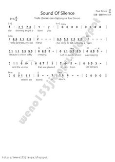 pianojianpu: Trolls - Sound of silence & True Color Free Piano Sheets, Thing 1, Piano Music, True Colors, Troll, Math, Mathematics, Math Resources, Piano Sheet Music