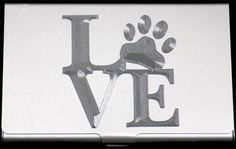 Dog Paw Print Love Pet Engraved Business Credit Card Case Holder Gift BUS-0207