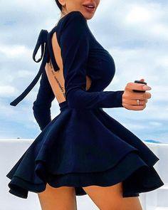 Open Back Layered Ruffles Pleated Dress (sponsored) Trend Fashion, Look Fashion, Korean Fashion, Fashion Fall, Fashion Men, Fashion Tips, Cute Casual Outfits, Stylish Outfits, Elegant Dresses