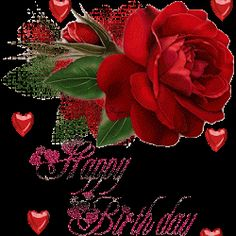 Beatiful Rose with Hearts: Happy Birthday