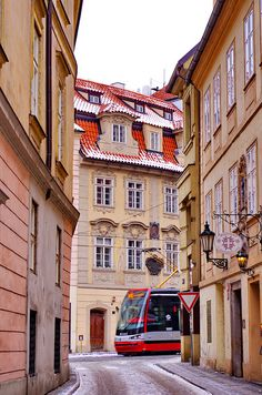 Tram in the streets of Prague, Czechia