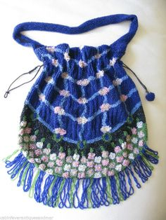 Trend Mark Antique Crochet Cobalt Blue Bugle Bead Tiered Fringe Drawstring Flapper Purse Bags, Handbags & Cases
