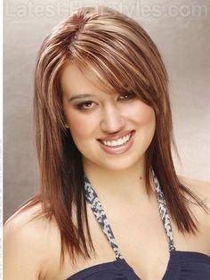 shoulder length hair narrow bangs | Cute Hairstyle Ideas For Women With Medium Length Hair And A Square ...