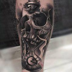 Surreal skull tattoo by Josu
