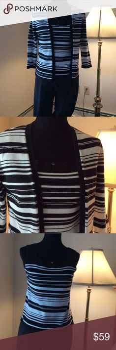 Talbots Sweater set and slacks Cotton spandex black and white striped sweater set and black cotton stretch trousers Talbots Other