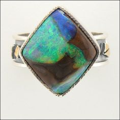 Micky Roof original Australian Opal ring in 14K Yellow Gold and Sterling Silver