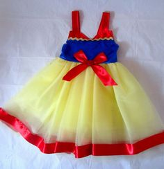 Princess Snow White Dress: lined red, blue and yellow tutu dress with sparkle, easy on and off, costume birthday party, princess dinner by KnottedWear on Etsy https://www.etsy.com/listing/130733082/princess-snow-white-dress-lined-red-blue