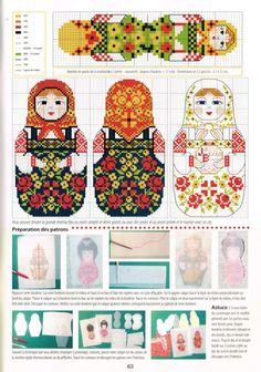 femme - woman - matriochka - point de croix - cross stitch - Blog : http://broderiemimie44.canalblog.com/