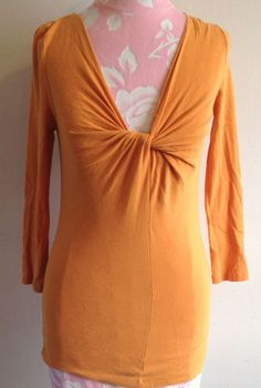 J.Crew Lightweight Tangerine Orange Tie Twisted Scoop Neck 3/4 Sleeve Top XS #JCrew #Blouse #Casual