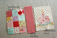 decorated book outer cover - DIY binding - binding idea for quilt books for the littles