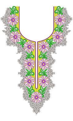 Rhinestone Neck Embroidery Design 11020
