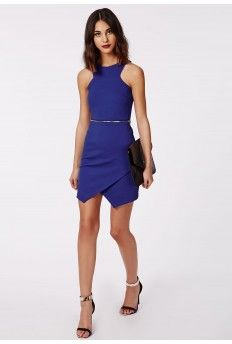 Queena Sleeveless Zip Waist Shift Dress Cobalt Blue