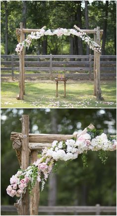 Romantic outdoor wedding ceremony, rustic wedding arbor, white and light pink florals, rose petals // Laura Anne Watson