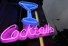 Custom neon dog sign. White neon illumination for cocktail bar in Warsaw, Poland.