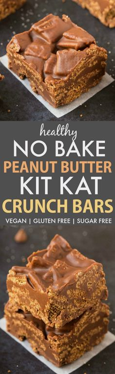 No Bake Peanut Butter Kit Kat Crunch Bars (V, GF, DF)- Easy, fuss-free and delicious, this healthy candy bar copycat combines chex cereal, chocolate and peanut butter in one! vegan, gluten free, sugar free recipe- thebigmansworld.com