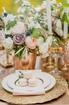 romantic gold place setting - photo by Jenn Kavanagh http://ruffledblog.com/romantic-orchard-row-inspired-wedding