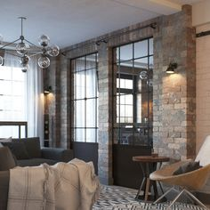 Loft in a small apartment (living room) on Behance City Apartment Decor, Loft Interiors, Apartment Interior, Small Apartment Living, Interior Design Loft Style, Small Apartment Living Room, Loft Room, Loft Style Interior, Living Room Designs