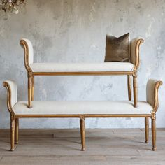 Eloquence Mademoiselle Distressed Gold Grande Bench
