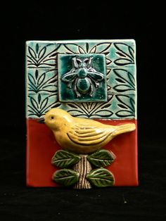 Ceramic Tile, Bird and Bee.