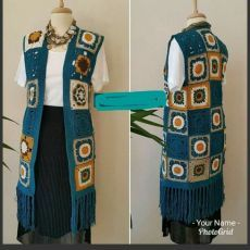 This Pin was discovered by Ayn Gilet Crochet, Crochet Coat, Crochet Jacket, Crochet Cardigan, Crochet Granny, Crochet Shawl, Easy Crochet, Crochet Clothes, Crochet Diagram