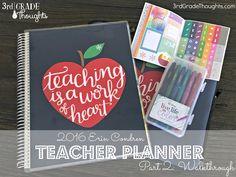 Grade Thoughts: 2016 Erin Condren Teacher Planner {Part Walkthrough} Happy Teacher Planner, Erin Condren Teacher Planner, School Planner, Teacher Binder, Teacher Organization, Teacher Tools, Teacher Gifts, Cd Binder, Teacher Stuff