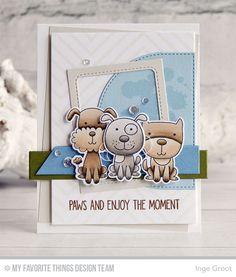 Four-Legged Friends Stamp Set and Die-namics, Distressed Patterns Stamp Set, Diagonal Design Background, Blueprints 32 Die-namics, Stitched Dome STAX Die-namics - Inge Groot  #mftstamps