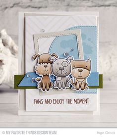 Four-Legged Friends Stamp Set and Die-namics, Distressed Patterns Stamp Set, Diagonal Design Background, Blueprints 32 Die-namics, Stitched Dome STAX Die-namics - Inge Groot  #mftstamps