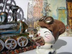 Steampunk Kitty News Boy Fantasy Feng Shui by NopalitoVintageMore, $12.00