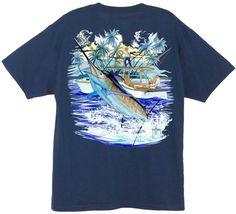 Guy Harvey Shirts - Guy Harvey Marlin Boat 2 Men's Back-Print Tee w/ Pocket in Ocean Blue, Cardinal, Navy, Stonewashed Green or White, $19.95 (http://www.guyharveyshirts.com/guy-harvey-marlin-boat-2-mens-back-print-tee-w-pocket-in-ocean-blue-cardinal-navy-stonewashed-green-or-white/)