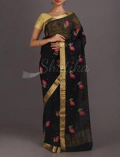 Abhirami Colorful Peacock Motifs Lace Border Pure #MysoreChiffonSaree