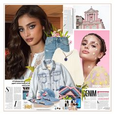 """""""TAYLOR HILL Glamour France 2017 / Denim: Head to Toe"""" by k-hearts-a ❤ liked on Polyvore featuring By Terry, Anja, Levi's, Yves Saint Laurent, Hollister Co., Lanvin, Samsung, Mudd, Armenta and NYX"""