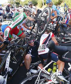 Cyclists recover from a crash during a race in Valkenburg, Netherlands