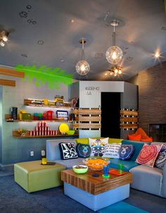 Teen Playroom Design Ideas, Pictures, Remodel and Decor Teen Playroom, Teen Game Rooms, Playroom Design, Game Room Design, Playroom Ideas, Lounge Design, Playroom Lounge, Teen Lounge Rooms, Boys Game Room