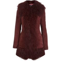 3752ccfc508 Miss Selfridge Burgundy Mongolian Coat