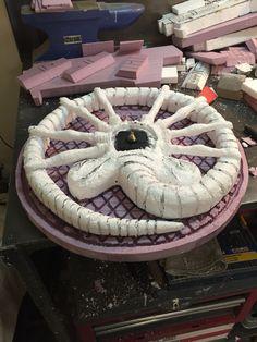 """Alien"" themed clock. Made from XPS and EPS foam. #Facehugger #Alien #Clock"