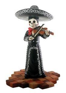 """""""Mariachi Violin Player (Female)"""" Collectible Dia de los Muertos Figure (black)"""