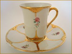 Antique Haviland Limoges Porcelain Demi Chocolate Cup Saucer Pink Roses Gold