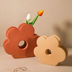 Ceramic Flowers, Ceramic Vase, Ceramic Pottery, Ceramic Decor, Porcelain Ceramic, Slab Pottery, Thrown Pottery, Pottery Vase, Flower Shape
