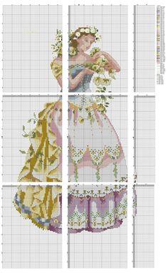 0 point de croix femme et fleurs - cross stitch lady and flowers