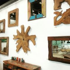 From root cross sections, to reclaimed wood mirrors, and boatwood coat racks, we've got your wall decor needs covered. Mirror Panels, Mirrors, Reclaimed Wood Mirror, Coat Racks, Wall Decor, Wall Art, Rustic Charm, Sustainable Design, Wall Sculptures