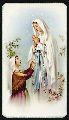 Get 100 pieces for one low bulk price with our of Our Lady Lourdes with Bernadette Holy Card.OL LOURDES with BERNADETTE x 4 with gold edges. Pack of 100 holy cards, blank back. Madonna, Our Lady Of Lourdes, Beautiful Flowers Wallpapers, Blessed Virgin Mary, Flower Wallpaper, Virgo, Holi, Princess Zelda, Cards