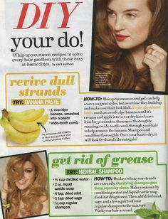 From Seventeen Magazine - DIY hair care