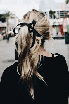 hair tie. black ribbon. all black. ponytail.