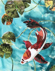 Étang.  Collage, encre d'acrylique sur papier japonais monté sur panneau de bois. Printemps 2018 à hiver 2019. Collage, Painting, Art, Japanese Paper, Bamboo, Ink, Spring, Winter, Paint