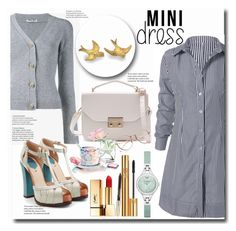 """""""Mini Dress Outfit"""" by mozeemo ❤ liked on Polyvore featuring Miu Miu, Fendi, Yves Saint Laurent and Emporio Armani"""
