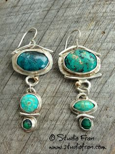 turquoise and silver earrings  Studio Fran www.studiofran.com